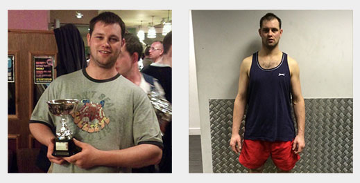 Before, and after image of client after training with LBF